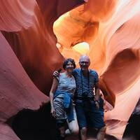 Poseren in de lower Antelope Canyon